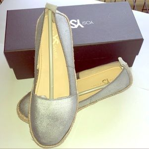 NEW Yosi Samra SILVER Liv 2 espadrille shoes sz 8